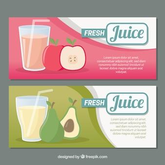 Bannières décoratives de jus de fruits frais dans un design plat