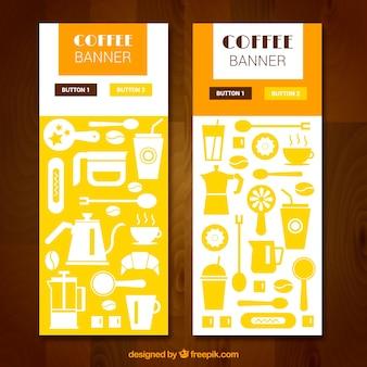 Bannières décoratives avec variété d'articles de café dans le design plat