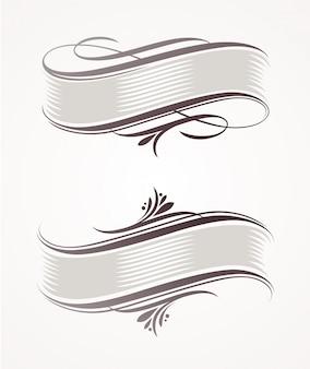 Bannières de défilement vintage avec éléments calligraphiques