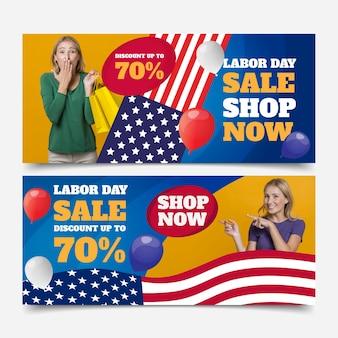 Bannières dégradées de la fête du travail des états-unis avec photo