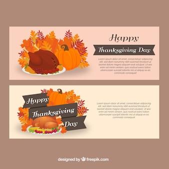 Bannières de délicieux dîners de thanksgiving
