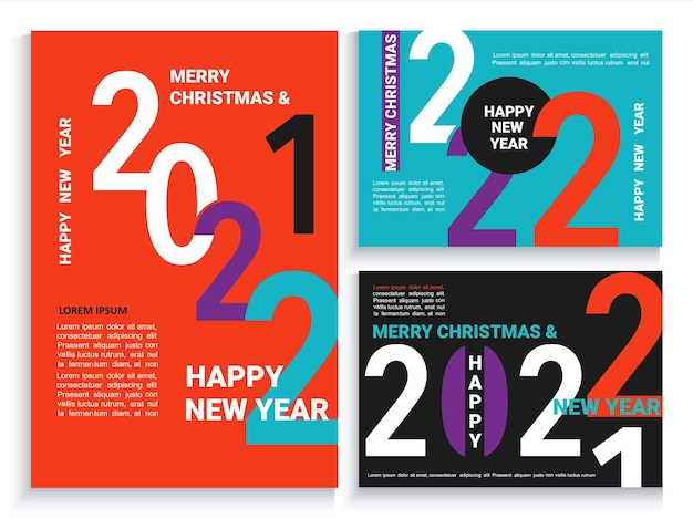 Bannières, dépliants, cartes, affiches du nouvel an 2022 en noir, rouge, bleu.brochures modernes, invitations et cartes de voeux, dépliants, en-têtes, agendas d'affaires, couverture de calendrier avec numéros pour 22 ans.vector