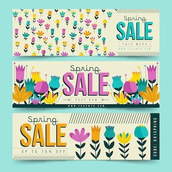 Bannières de design plat de printemps avec de petites fleurs colorées
