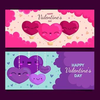 Bannières de design plat saint valentin