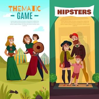 Bannières de dessin animé famille sous-cultures