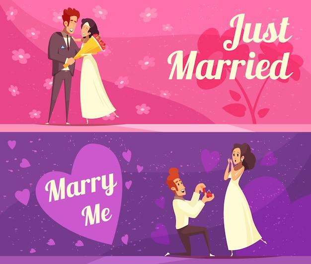 Bannières de dessin animé de jeunes mariés