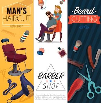 Bannières de dessin animé de salon de coiffure