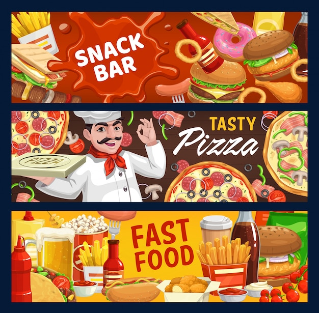 Bannières de dessin animé de vecteur de restauration rapide et snack-bar