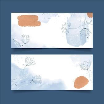 Bannières dessinées à la main à l'aquarelle