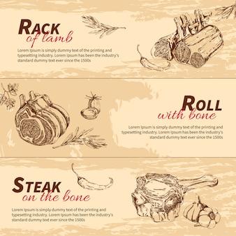 Bannières dessinées à la main de plats de viande