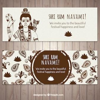 Bannières dessinées à la main pour ram navami