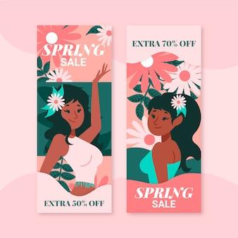 Bannières dessinées à la main de vente de printemps