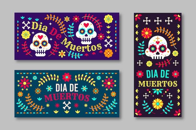 Bannières dia de muertos au design plat