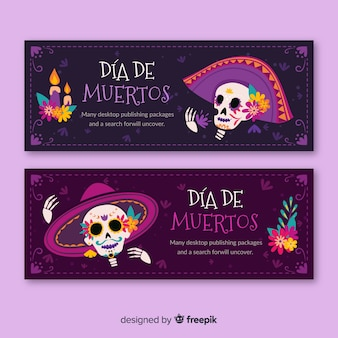 Bannières día de muertos design plat