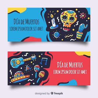 Bannières de día de muertos dessinées à la main