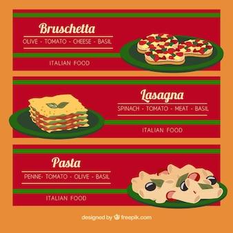 Bannières avec différents plats