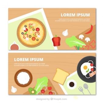 Bannières avec différents types d'aliments en design plat