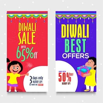 Bannières diwali colorés avec des offres fantastiques
