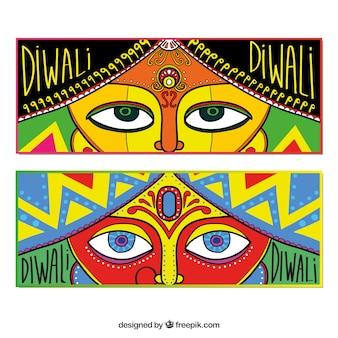 Bannières diwali avec des looks dessinés à la main