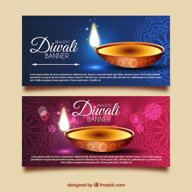 Bannières diwali ornementales et lumineuses