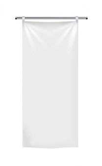 Bannières et drapeaux textiles publicitaires blancs réalistes.