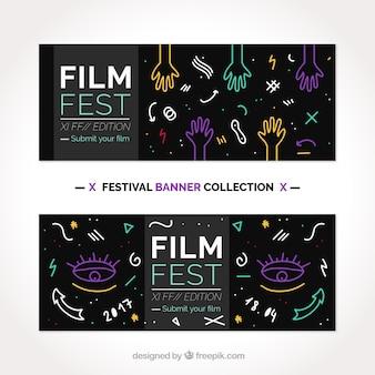 Bannières du festival du film avec des dessins décoratifs
