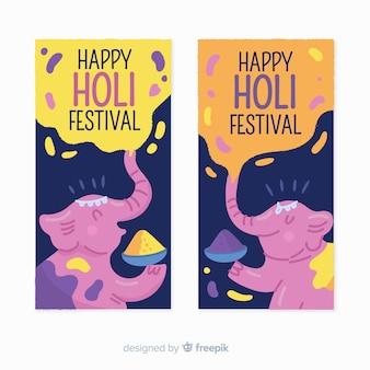 Bannières du festival holi dessinés à la main