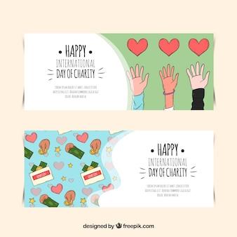 Bannières du jour de la charité avec des dessins