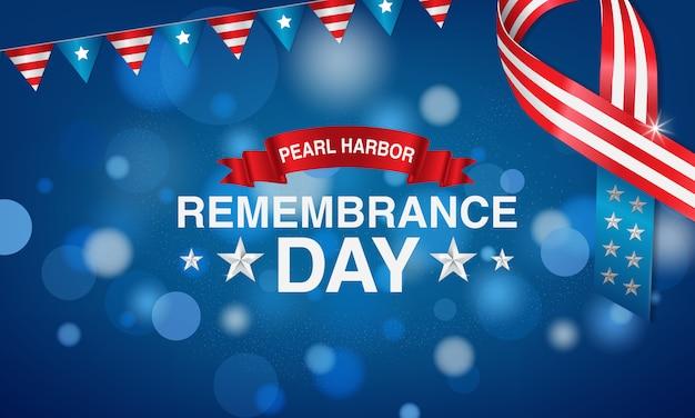 Bannières du jour du souvenir du port de perles avec l'étoile et une cravate aux américains.
