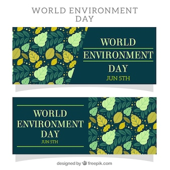 Bannières du jour de l'environnement mondial avec des feuilles dans des tons verts