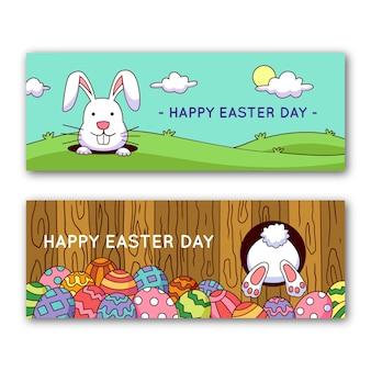 Bannières du jour de pâques avec lapin et oeufs