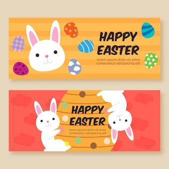 Bannières du jour de pâques avec des lapins et des oeufs peints