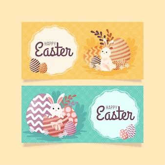 Bannières du jour de pâques avec des lapins et des œufs