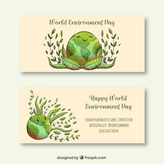 Bannières du monde de l'environnement avec une belle terre