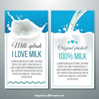 Bannières des éclaboussures de lait dans un style réaliste