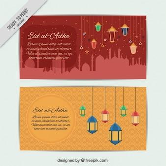 Bannières de eid al-adha avec des lanternes