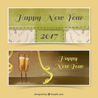 Bannières élégantes peintes à l'aquarelle pour la nouvelle année