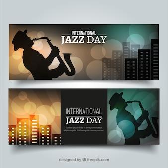 Bannières élégantes avec le saxophoniste