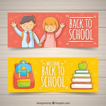 Bannières élémentaires dessinées à l'école