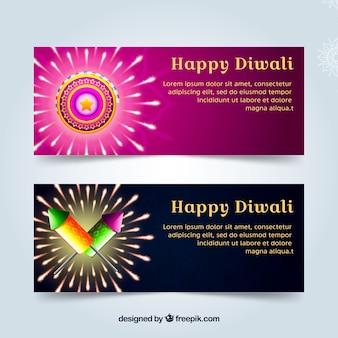 Bannières avec des éléments de diwali