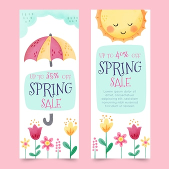 Bannières avec des éléments de printemps colorés