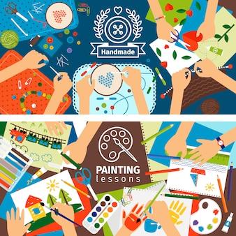 Bannières d'enfants créatifs à la main