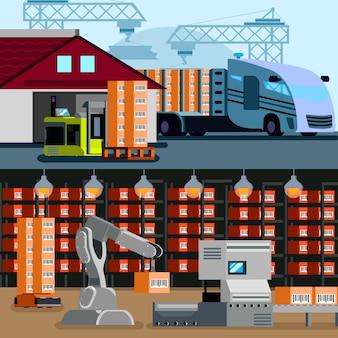Bannières d'entrepôt automatisé à l'intérieur et à l'extérieur