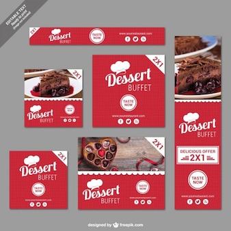 Bannières d'escompte dessert buffet