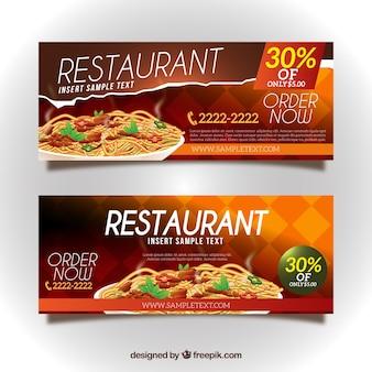 Bannières d'escompte des restaurants