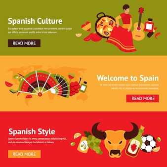Bannières espagnoles avec des objets traditionnels