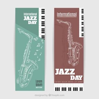 Bannières esquisse saxophone pour le jour international de jazz