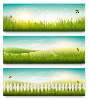 Bannières d'été nature avec herbe verte et ciel bleu. vecteur
