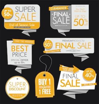 Bannières et étiquettes de vente modernes
