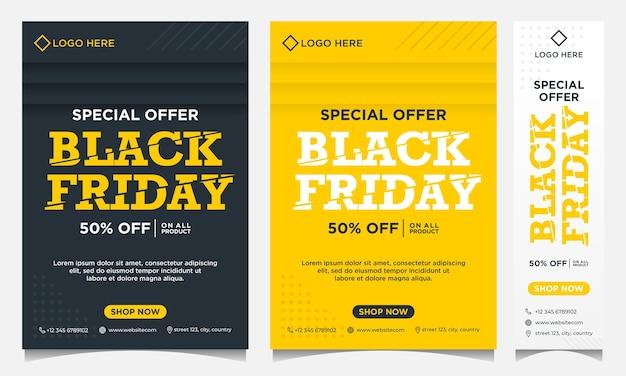 Bannières d'événement black friday, arrière-plan et médias sociaux et modèle de flyer en dégradé noir et jaune